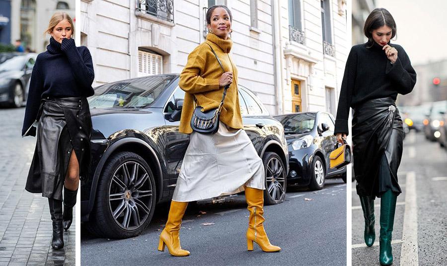 Επιλέξτε μία δερμάτινη φούστα και χρώμα στις μπότες σας για εντυπωσιακό λουκ!