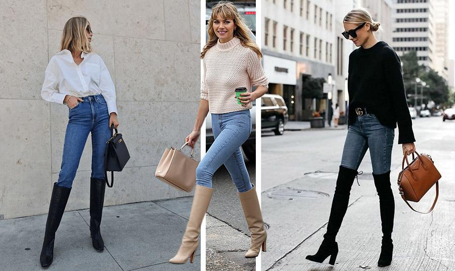 Φορέστε τις ψηλές μπότες σας με skinny jean. Επιλέξτε μαύρο ή γήινα χρώματα. // Φορώντας μάλιστα το πουλόβερ σας έξω στο μπροστινό μέρος είναι ένα κόλπο για μία πιο «μακριά» σιλουέτα!