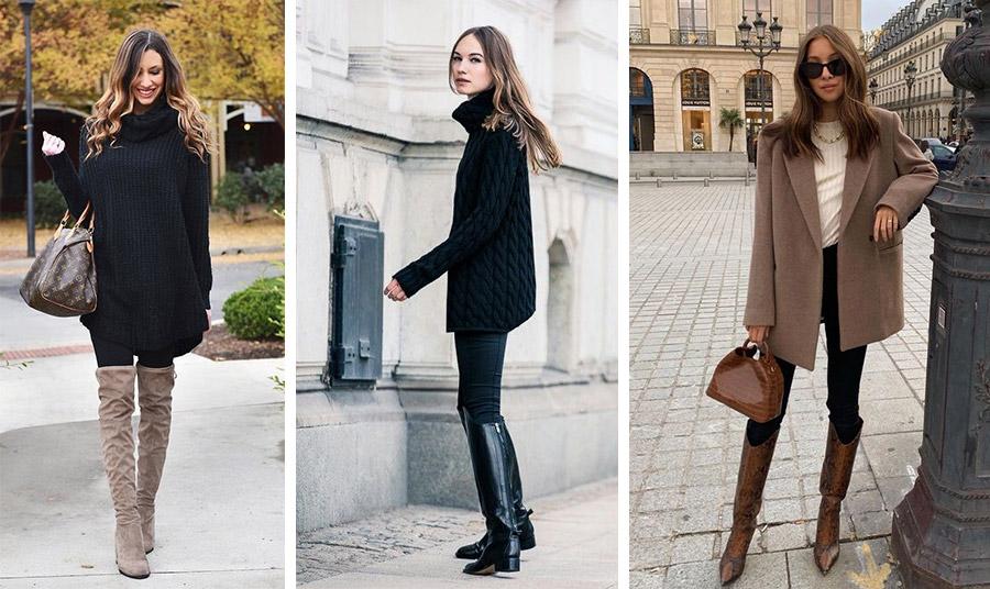 Κλασικά μπότες με κολάν, σε συνδυασμό με ένα μακρύ πουλόβερ ή σακάκι