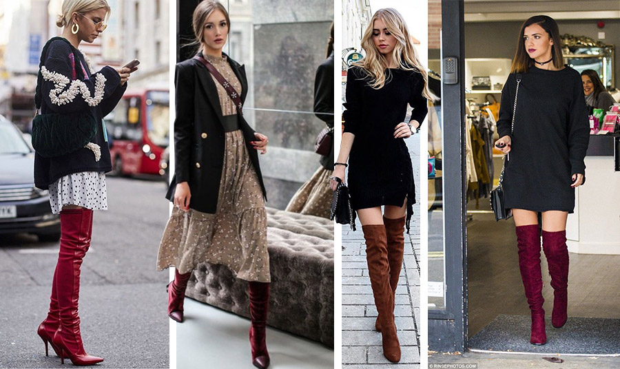 Οι μπότες στις αποχρώσεις του σκούρου κόκκινου της Βουργουνδίας είναι η πιο επίκαιρη επιλογή! Ακόμη και με ένα απλό μαύρο φόρεμα κάνουν τη διαφορά