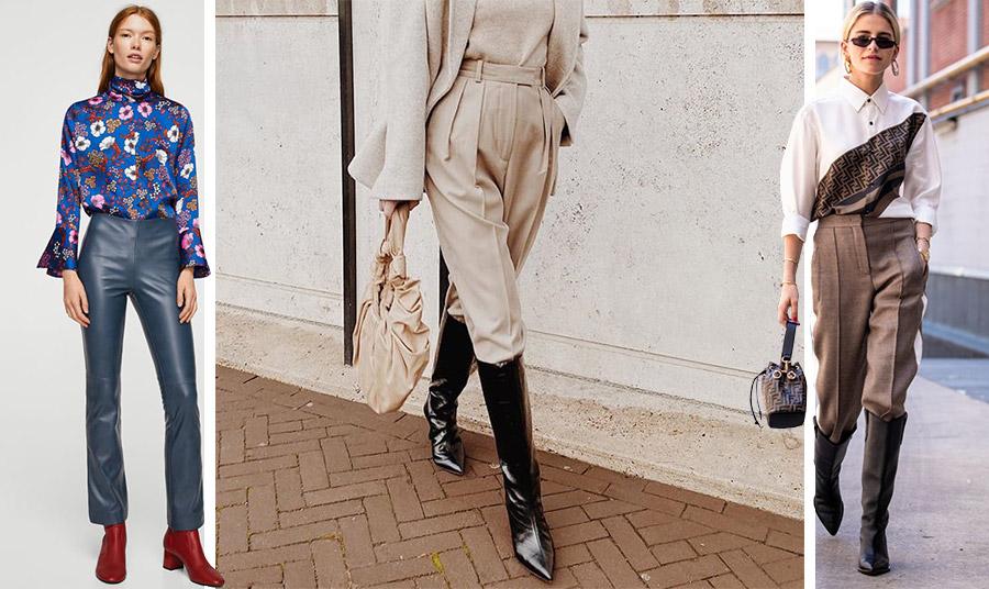 Δερμάτινο ή υφασμάτινο παντελόνι; Μα φυσικά! Ένα παντελόνι με πιέτες είναι μία κομψή επιλογή με τις μπότες σας ως το γόνατο. Κατάλληλο και για επαγγελματικές εμφανίσεις