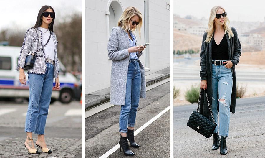 Για τις κρύες ημέρες που έρχονται συνδυάστε το ψηλόμεσο τζιν ανάλογα με τη γραμμή του με σακάκι, παλτό αλλά και με μία μακριά ζακέτα