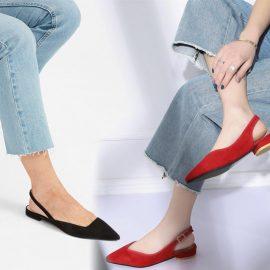 Μπορείτε να φορέσετε και ίσια παπούτσια. Νεανικά και πάντα με φρέσκια διάθεση, καλό είναι να καταλήγουν σε μυτερή φόρμα ή να έχουν V σχήμα
