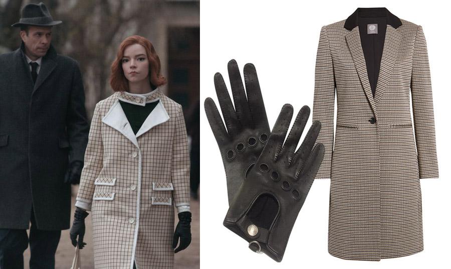 Ο ενδυματολογικός «κώδικας» του καρό αντικατοπτρίζεται σε αυτό το μοναδικό καρό παλτό με δερμάτινα γάντια οδήγησης για το στιλ της Beth //Δερμάτινα γάντια οδήγησης, Hermes // Καρό μίντι παλτό, Nordstorm