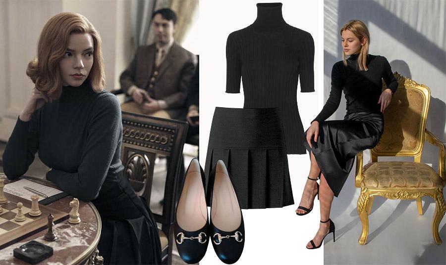 Η εμφάνιση με total black look σε στιλ 60s, με μαύρο ζιβάγκο και φούστα με φαρδιές πιέτες από σκηνή της σειράς // Επίκαιρο όσο ποτέ και σήμερα το μαύρο! Μαύρο ζιβάγκο, Bottega Veneta // Επιλέξτε μία κλασικά κομψή μαύρη φούστα με φαρδιές πιέτες // Μπαλαρίνες, Gucci