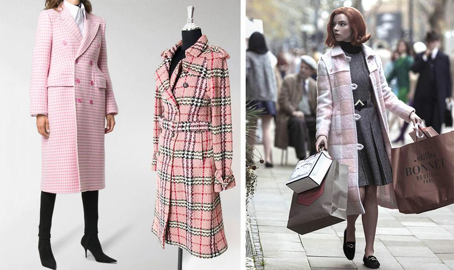Το καρό παλτό στην εκδοχή του «σκονισμένου ροζ» που λατρεύουμε όλο τον τελευταίο καιρό! Μικρά καρό λευκό-ροζ, Balenciaga // Υπέροχο καρό-σκακιέρα, Burberry // Η Beth σε σκηνή από τη σειρά