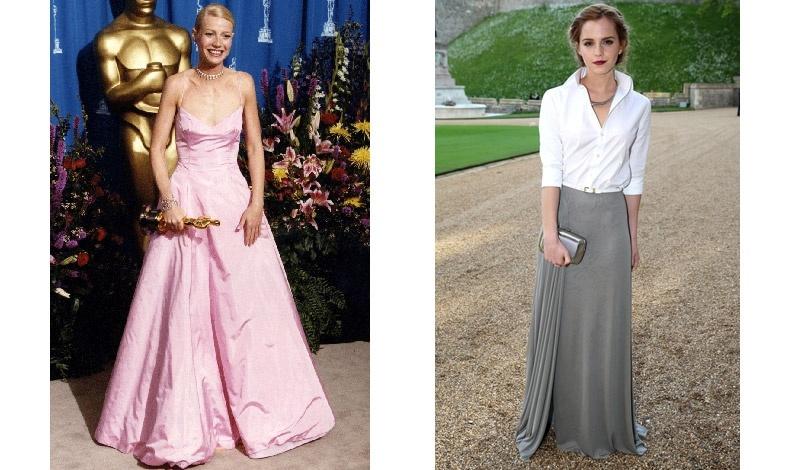 H Γκουίνεθ Πάλτροου με ροζ δημιουργία Ralph Lauren τη χρονιά που βραβεύτηκε με Όσκαρ για το «Ερωτευμένος Σέξπιρ» // Η Έμμα Γουάτσον με μακριά φούστα από μεταξωτό ζέρσεϊ και λευκό πουκάμισο στον Πύργο Γουϊνσδορ με αφορμή δείπνο για την εκστρατεία κατά του καρκίνου του μαστού από τον Ραλφ Λόρεν