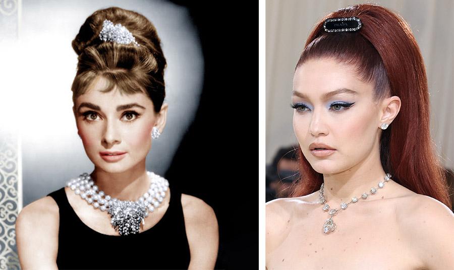 Η Κάθριν Χέπμπορν τη δεκαετία του '60 και η Gigi Hadid Met στο Gala το 2021