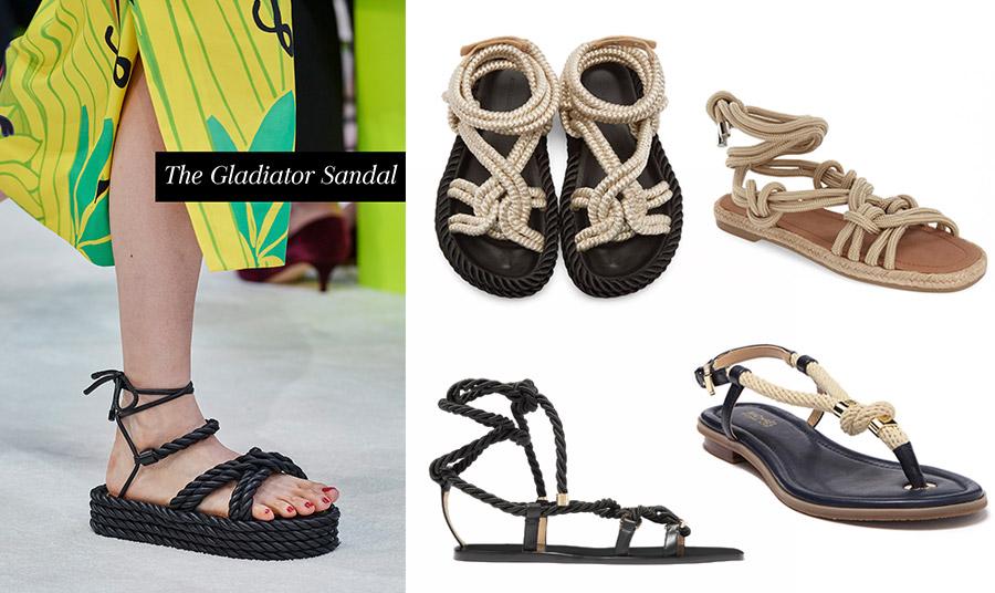 Από την πασαρέλα άνοιξη-καλοκαίρι 2020, Valentino // Μαύρη σόλα και μπεζ σχοινιά, για τα σανδάλια, Isabel Marant // Με περίτεχνους κόμπους και στο χρώμα της άμμου, Topshop // Κομψά σε μαύρο χρώμα με χρυσές λεπτομέρειες, Jimmy Choo // Μίνιμαλ γραμμή σε μαύρο και κρεμ, Michael Kors