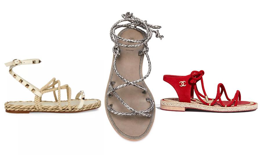 Πολλοί οίκοι δημιούργησαν τα δικά τους σανδάλια με σχοινιά. Σε κρεμ δέρμα με χρυσά καρφάκια και μπεζ σχοινιά, Valentino // Με ασημί σχοινιά, Brunello Cuccinelli // Σε φλογερό κόκκινο, Chanel