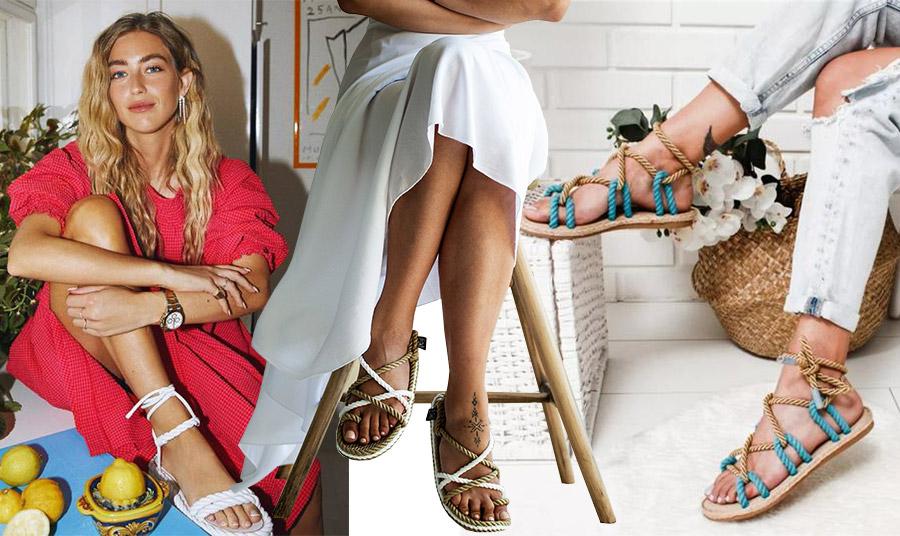 Τα πολλά πρόσωπα της φετινής μόδας με τα rope sandals. Λευκά Valentino με κόκκινο φόρεμα για την Emili Sidlev // Επιλέξτε να τα φορέσετε με ένα λευκό μακρύ και ανάλαφρο φόρεμα // Μία εκδοχή με μπεζ-γαλάζια σχοινιά κάνει τέλειο συνδυασμό με το τζιν μας