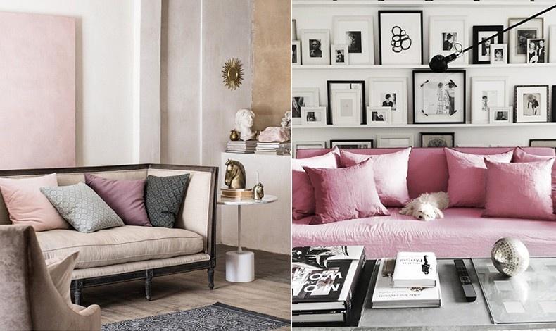 Πολύ αχνό ροζ σε συνδυασμό και κρεμ και χρυσαφί δίνουν ένα κλασικό ύφος // Ασπρόμαυρη ατμόσφαιρα που παίρνει χροιά θηλυκότητας με την κυριαρχία του μονόχρωμου ροζ καναπέ