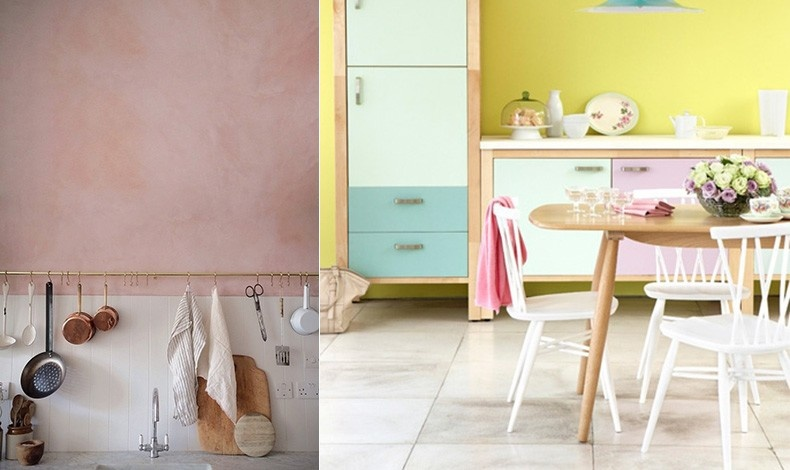 Ροζ «παλιακό» στον τοίχο της κουζίνας σε συνδυασμό με ρετρό στοιχεία για μία νοσταλγική ατμόσφαιρα // Συνδυάστε παστέλ αποχρώσεις του ροζ, του κίτρινου και λάιμ με λιτές γραμμές στα ξύλινα έπιπλα για να ζωηρέψετε την κουζίνα σας
