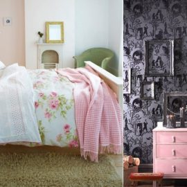 Λουλούδια και καρό σε ροζ αποχρώσεις φέρνουν τη φρεσκάδα και τον ρομαντισμό της άνοιξης στο κρεβάτι σας? // Σε σκούρο φόντο, ένα ροζ έπιπλο κάνει την αντίθεση και δίνει σέξι και σοφιστικέ στιλ
