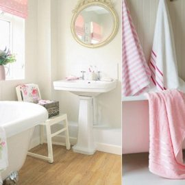 Λευκά είδη υγιεινής και ροζ πινελιές στην κουρτίνα και στις πετσέτες για ένα μπάνιο γεμάτο θηλυκότητα // Μία ροζ μπανιέρα και ροζ πετσέτες σε ένα κατάλευκο μπάνιο δημιουργούν το κατάλληλο σκηνικό για να «βυθιστείτε» στη γαλήνη