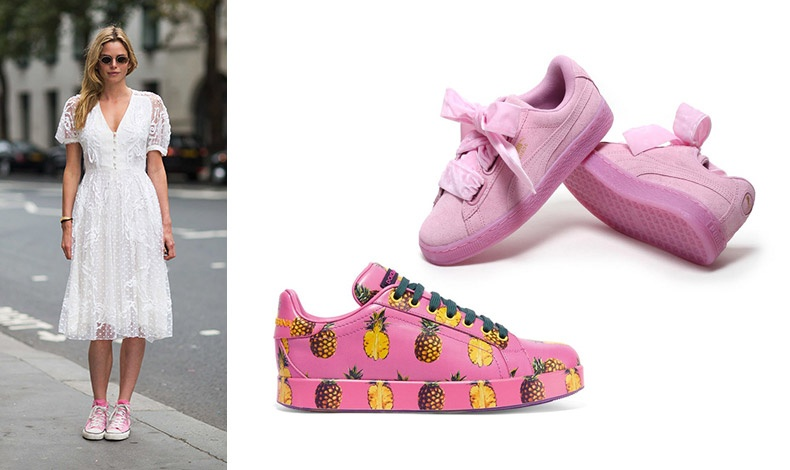 Φορέστε ένα δαντελένιο φόρεμα και τα ροζ sneakers σας! Αποκλείεται να περάσετε απαρατήρητη! // Ροζ αθλητικά με βελούδινες κορδέλες για κορδόνια, Puma // Sneakers  με ανανάδες, Dolce&Gabbana