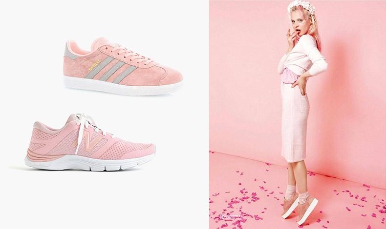 Παστέλ ροζ με γκρι ρίγες, Gazelle, adidas // Σε απαλό ροζ, New Balance // Ταιριάξτε τα με μία ίσια φούστα