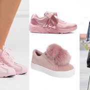 Παστέλ ροζ, Νike // Από τη συλλογή της Rihanna με την Puma // Με γούνινα φουντάκια, Sam Edelman // Ένα λευκό φόρεμα, τζιν σακάκι και τα ροζ sneakers σας!