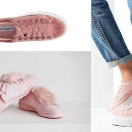 Βελούδινα ροζ, Steve Madden // Ροζ δερμάτινα, στολισμένα με φουντάκια, Reebok // Απαλό ροζ, Superga