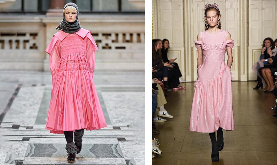 Η Μolly Goddard άνοιξε τη δική της επίδειξη με ένα oversized και περίπλοκο φόρεμα συνδυασμένο με γκρι αξεσουάρ // Από την επίδειξη στο Λονδίνο Simone Rochas