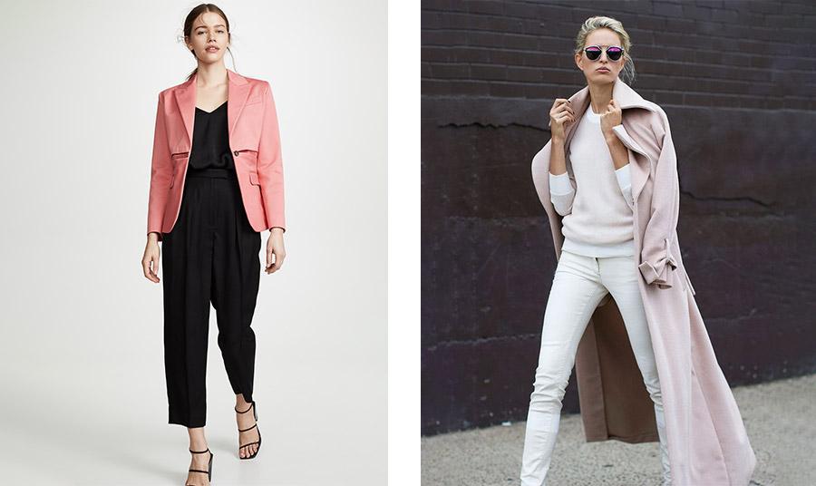 Φορέστε ένα ροζ σακάκι με μαύρο ή ένα απαλό παστέλ παλτό με total λευκό