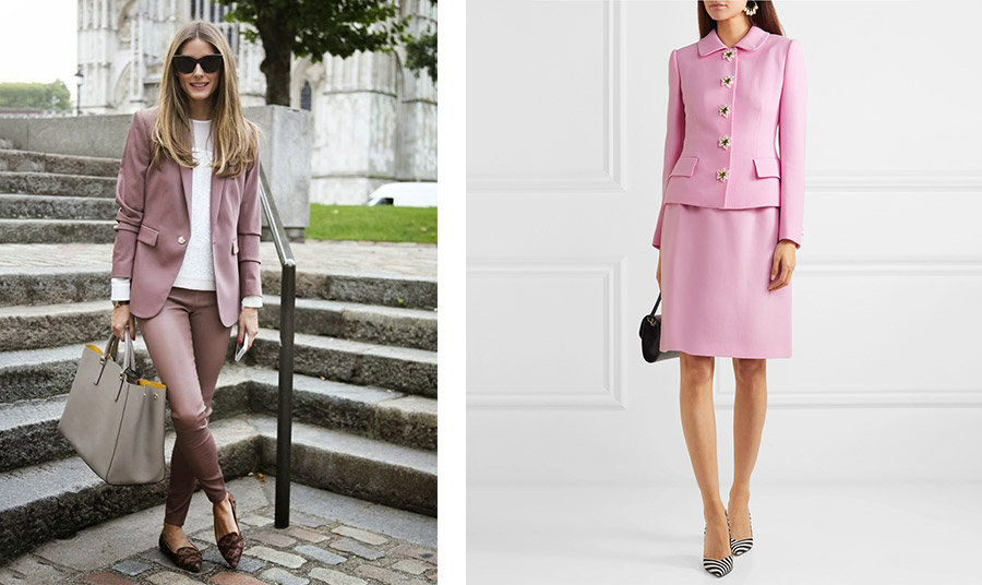 Η Olivia Palermo με μουντές ροζ αποχρώσεις // Λαμπερό παστέλ ροζ ταγιέρ (το συγκεκριμένο Dolce&Gabbana) συνδυασμένο με μαύρη τσάντα και γόβες με μοτίβο ζέβρας