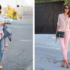 Το τζιν σας παίρνει άλλο ύφος με ένα παστέλ βαμβακερό θαλασσί πουλόβερ, και ροζ πανωφόρι με ασορτί γόβες! // Ένα ροζ τζιν με ίδιας απόχρωσης πουκάμισο και λεοπάρ γόβες για κάθε ημέρα