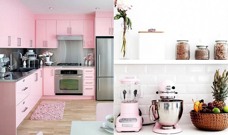 Ξύλο, inox και ροζ! Μία κουζίνα με θηλυκότητα και απόλυτα σύγχρονη αισθητική // Σε μία λευκή κουζίνα, οι ροζ πινελιές μπορεί να είναι οι μικρές ηλεκτρικές συσκευές