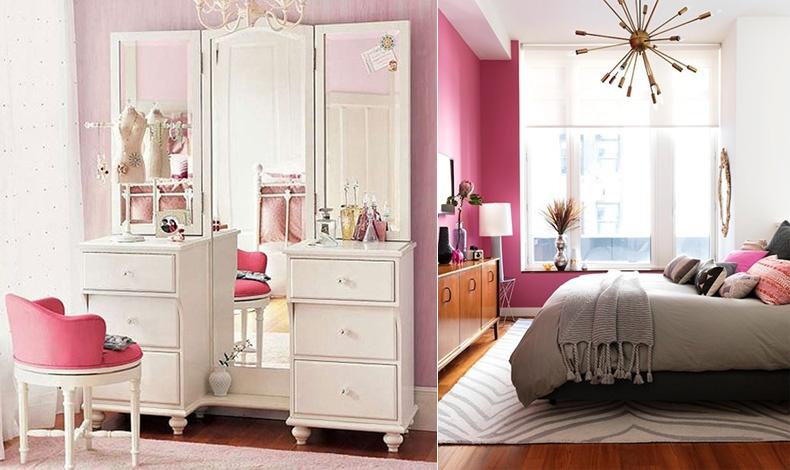 Δύο διαφορετικοί τρόποι για να εντάξετε το ροζ ή το δυνατό φούξια στην κρεβατοκάμαρά σας: Απαλό ροζ στον τοίχο, vintage έπιπλα και φούξια ταπετσαρία στην καρέκλα, ή μίνιμαλ αισθητική που τονίζεται από έναν φούξια τοίχο