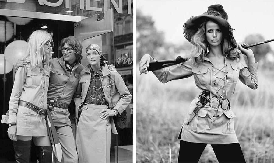 Ο Yves Saint Laurent στα τέλη της δεκαετίας του '60 με δύο μοντέλα του // Το εμβληματικό σακάκι «La Saharienne» με την Βερούσκα από το 1969