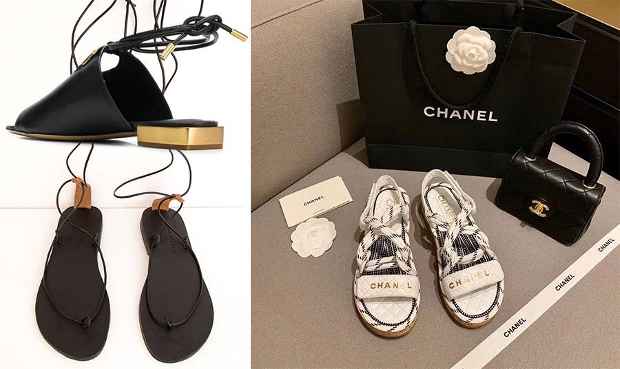 Σανδάλι με χρυσές λεπτομέρειες, Ferragamo // Μαύρο σανδάλι με λεπτά, μακριά λουράκια, Gaya // Σανδάλια με ναυτικό στιλ και στο πνεύμα της φετινής μόδας με σχοινιά, Chanel