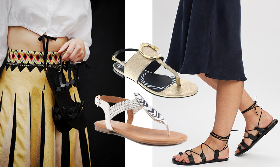 Η ελληνική εταιρεία Ancient Greek Sandals έχει συλλογές με μοναδικά σανδάλια (δεξιά και αριστερά) // (στο κέντρο) Χρυσό σανδάλι, Roberto Cavalli // Σανδάλι από δέρμα και ναυτική έμπνευση, Juicy Couture