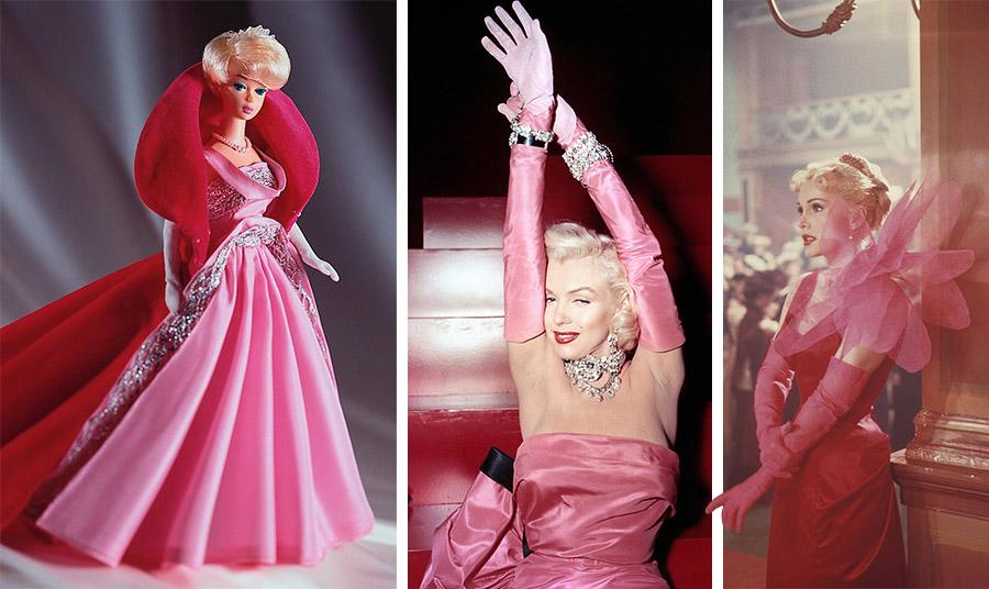 Η Barbie με φούξια τουαλέτα από τη δεκαετία του ΄50 // Η ανεπανάληπτη εμφάνιση της Μέριλιν στην ταινία «Οι άνδρες προτιμούν τις ξανθές»// Η ντίβα Ζα Ζα Γκαμπόρ με το φούξια φόρεμα της Elsa Schiaparelli   για την ταινία «Moulin Rouge» το 1952