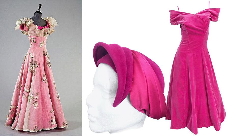 Τουαλέτα από μεταξωτό ροζ και λευκή οργάντζα κεντημένη με άγρια τριαντάφυλλα και βελούδινα πέταλα του 1953 // Καπέλο σε φούξια και φόρεμα στράπλες από βελούδο, 1950