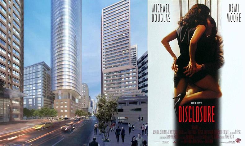 Ας θυμηθούμε την Ντέμι Μουρ να παρενοχλεί σεξουαλικά τον Μάικλ Ντάγκλας στο φιλμ ?Αποκαλύψεις? (1994) με φόντο την Second Avenue και τον πύργο Northern Life!