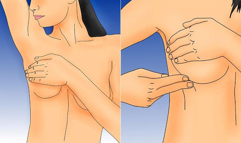Αυτοεξέταση μπορείτε να κάνετε και στο ντους: Με τις άκρες των δαχτύλων, ψηλαφίζουμε ολόκληρη την περιοχή του στήθους, με κυκλικές κινήσεις