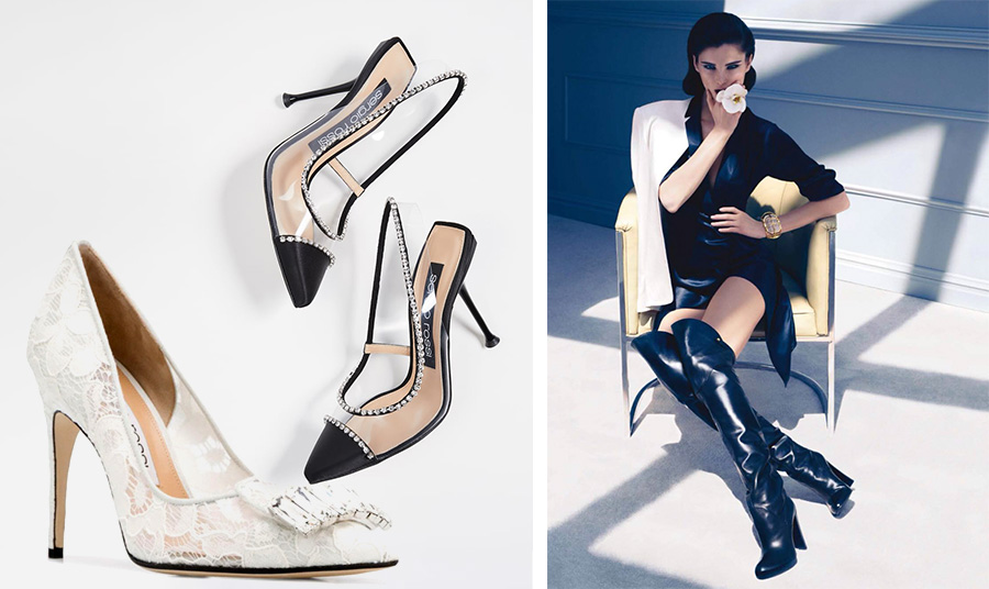 Λευκό νυφικό παπούτσι από δαντέλα και εκπληκτικά ξώφτερνα ψηλοτάκουνα με διαφάνειες και… διαμάντια! // Από παλαιότερη διαφημιστική καμπάνια με ψηλές μπότες