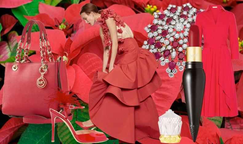 Κόκκινη τσάντα με χρυσές λεπτομέρειες, Michael Kors // Πέδιλο με φτερά, Gianvitto Rossi // Μία κόκκινη τουαλέτα δημιουργεί αίσθημα σαγήνης και πολυτέλειας // Καρφίτσα με ρουμπίνια και διαμάντια, Bulgari // Κόκκινο κραγιόν, Louboutin // Κόκκινο ντραπέ φόρεμα, Michael Kors
