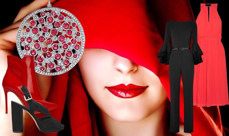 Μία γυναίκα στα κόκκινα αυξάνει την ερωτική έλξη και προκαλεί πόθο! Μενταγιόν από ρουμπίνια και διαμάντια, Tiffany's // Κόκκινο μποτάκι Gianvitto Rossi // Μαύρο βελούδινο πέδιλο, Michael Kors // Εντυπωσιακά κομψό jumpsuit, Michael Kors // Κόκκινο φόρεμα, Michael Kors