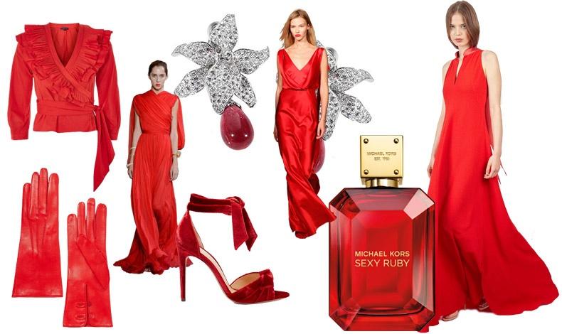 Ντραπέ πουκάμισο, Topshop // Γάντια, Alexander McQueen // Bραδινή τουαλέτα, Giambattista Valli // Σκουλαρίκια, Cartier // Βελούδινο πέδιλο, Alexander Birman // Σατέν βραδινό φόρεμα, Alberta Ferrreti // Φορέστε τα κόκκινά σας και αισθανθείτε πιο τολμηρή από ποτέ με μερικές σταγόνες Sexy Ruby! // Μακρύ φόρεμα, Alexis Mabille