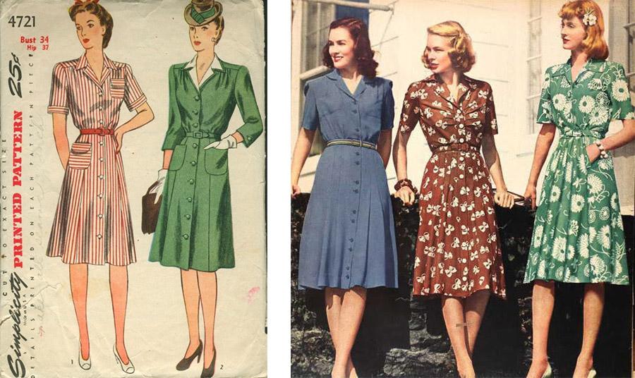 Το φόρεμα-πουκάμισο κάνει την εμφάνισή του λίγο πριν και κατά τη διάρκεια του Β' Παγκοσμίου Πολέμου