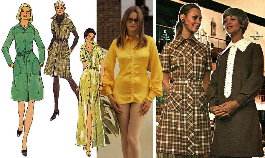 Σχέδια από φιγουρίνι της δεκαετίας του '70 // Σούπερ μίνι πουκάμισο φόρεμα για ένα κορίτσι από το Κένσιγκτον του Λονδίνου στα 70s // Μοντέλα με shirt dresses στα 70s
