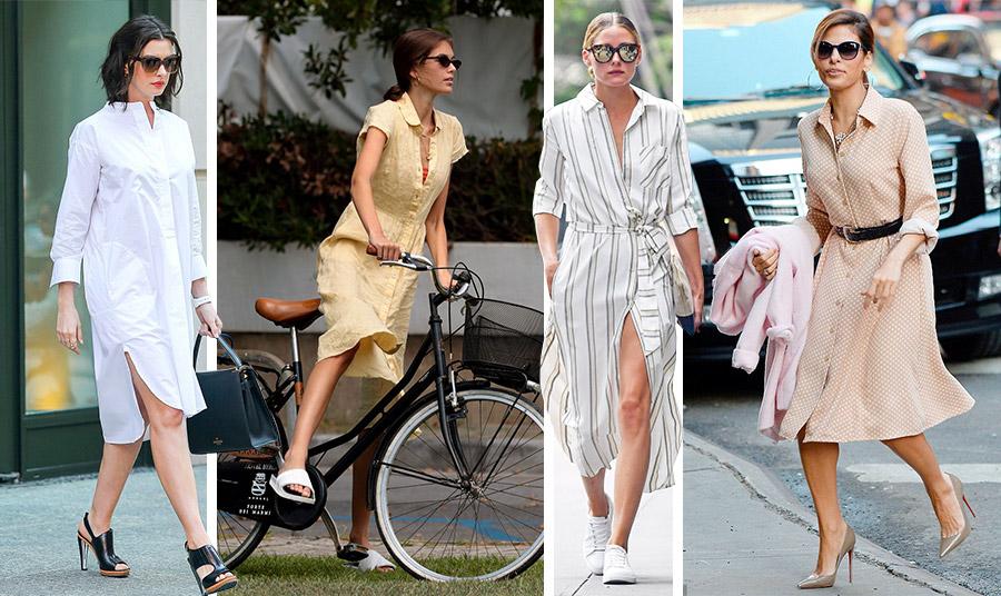Φυσικά, στη γοητεία του έχουν υποκύψει και… οι διάσημες! Η Αν Χαθαγουέι με λευκό φόρεμα-πουκάμισο και μαύρα παπούτσια με ψηλά τακούνια // Η Κάια Γκέρμπερ με ρομαντική κίτρινη εκδοχή και σαγιονάρες // Η Ολίβια Παλέρμο με μίντι ριγέ και sneakers // Η Εύα Μέντες με πουά και ψηλοτάκουνες γόβες στην κομψή εκδοχή του