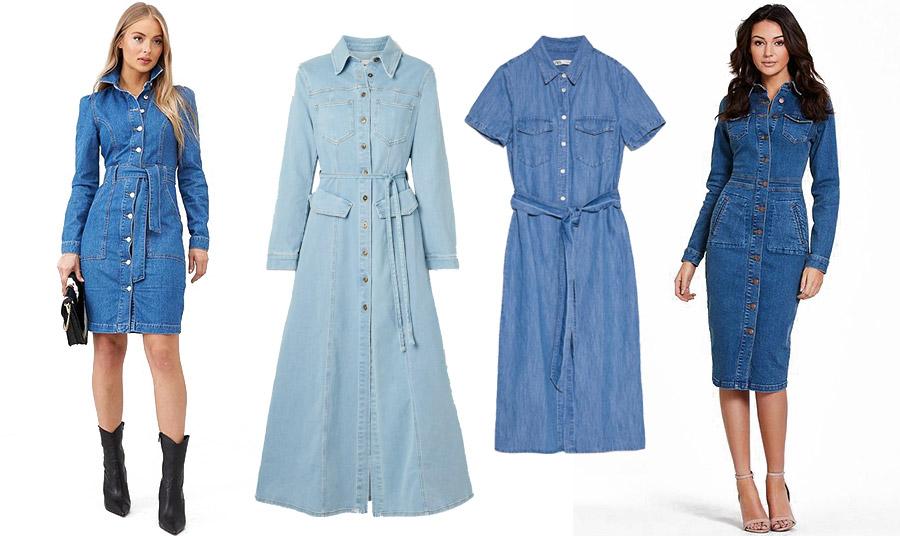 Δύο κλασικές επιλογές σε μία! Shirt dress και τζιν! Φορέστε το με μποτίνια και ζώνη στη μέση // Μακρύ από ανοιχτό μαλακό τζιν,  Nanushka // Μίντι φόρεμα-πουκάμισο, Zara // Στενό και σέξι στιλ!