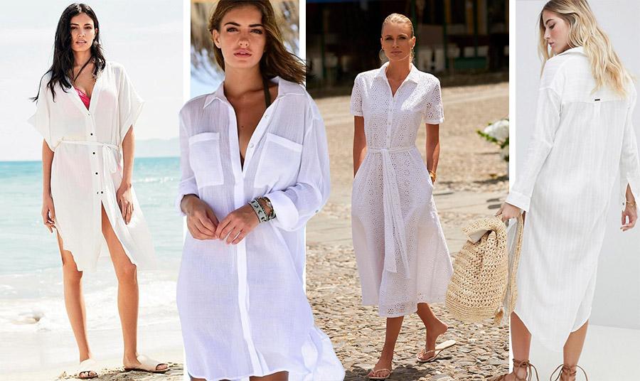 Επιλέξτε ένα λευκό και ανάλαφρο φόρεμα πουκάμισο, μίνι, μίντι, μάξι, οτιδήποτε για τις διακοπές σας! Θα σας κρατήσει δροσερές και με ανάλαφρο λουκ