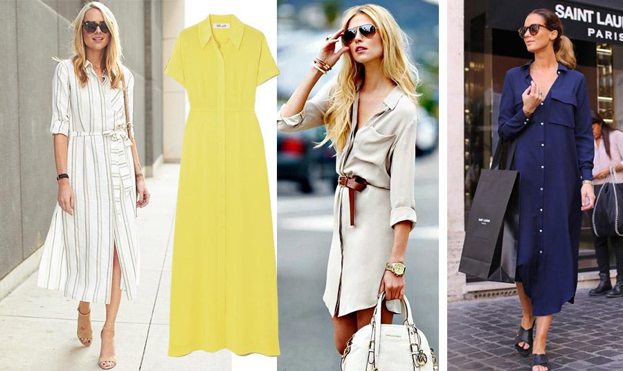 Ένα φόρεμα-πουκάμισο ριγέ είναι ιδανικό για τις βόλτες σας, όπως το φορά η Olivia Palermo // Μάξι κίτρινο, Diane von Furstenberg // Μίνι με ζώνη που τονίζει τη μέση // Φορέστε π.χ. ένα μπλε για τα ψώνια σας
