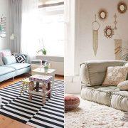Διαφορετικά υφάσματα για τον καναπέ, την πολυθρόνα και φυσικές ίνες στο χαλί // Βελούδινος καναπές, γούνινο χαλί και διάφορα υφάσματα για τα διακοσμητικά μαξιλαράκια