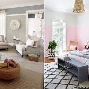 Ακόμη και αν οι τόνοι είναι ουδέτεροι οι τρεις αποχρώσεις του ίδιου χρώματος δημιουργούν εντυπωσιακό αποτέλεσμα // Ροζ και απαλό γκρι στους τοίχους και η πινελιά δίνεται με τις αποχρώσεις του μοβ στα έπιπλα και στο στρώσιμο του κρεβατιού