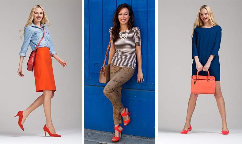 Φορέστε τα πορτοκαλί παπούτσια με όλες τις αποχρώσεις του μπλε, (από το σκούρο μέχρι το ανοιχτό γαλάζιο), με καφέ αλλά και μαύρο