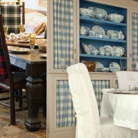 Μπορείτε να ντύσετε ακόμη και με διαφορετικά καρό τις καρέκλες της τραπεζαρίας ή να βάλετε κουρτινάκια στα τζαμένια πορτάκια του μπουφέ
